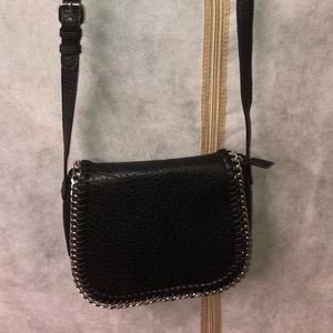 Black and chain silver crossbody bag.